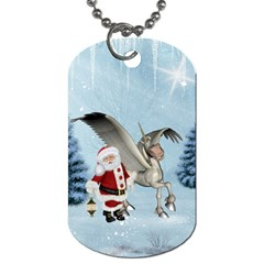 Santa Claus With Cute Pegasus In A Winter Landscape Dog Tag (two Sides) by FantasyWorld7