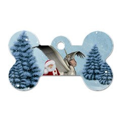 Santa Claus With Cute Pegasus In A Winter Landscape Dog Tag Bone (two Sides) by FantasyWorld7