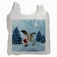 Santa Claus With Cute Pegasus In A Winter Landscape Recycle Bag (one Side) by FantasyWorld7