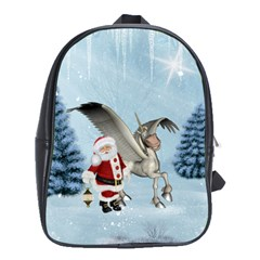 Santa Claus With Cute Pegasus In A Winter Landscape School Bag (large) by FantasyWorld7