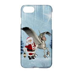 Santa Claus With Cute Pegasus In A Winter Landscape Apple Iphone 7 Hardshell Case