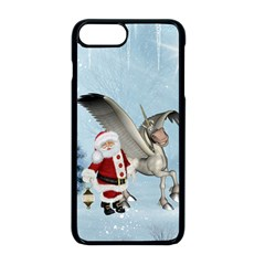 Santa Claus With Cute Pegasus In A Winter Landscape Apple Iphone 8 Plus Seamless Case (black)