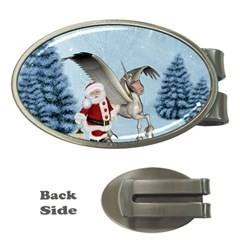 Santa Claus With Cute Pegasus In A Winter Landscape Money Clips (oval)  by FantasyWorld7