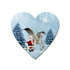 Santa Claus With Cute Pegasus In A Winter Landscape Heart Magnet by FantasyWorld7