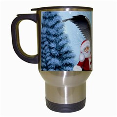 Santa Claus With Cute Pegasus In A Winter Landscape Travel Mugs (white) by FantasyWorld7