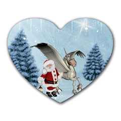 Santa Claus With Cute Pegasus In A Winter Landscape Heart Mousepads by FantasyWorld7