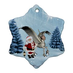 Santa Claus With Cute Pegasus In A Winter Landscape Snowflake Ornament (two Sides) by FantasyWorld7
