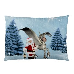 Santa Claus With Cute Pegasus In A Winter Landscape Pillow Case (two Sides) by FantasyWorld7
