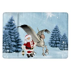 Santa Claus With Cute Pegasus In A Winter Landscape Samsung Galaxy Tab 10 1  P7500 Flip Case by FantasyWorld7