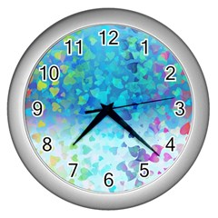 Hearts Colors Wall Clock (silver) by LoolyElzayat