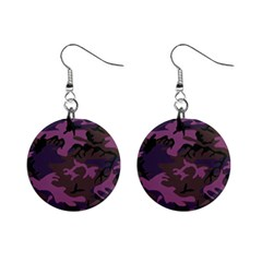 Camouflage Violet Mini Button Earrings by snowwhitegirl