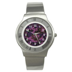 Camouflage Violet Stainless Steel Watch by snowwhitegirl