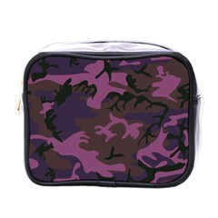 Camouflage Violet Mini Toiletries Bag (one Side) by snowwhitegirl