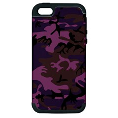 Camouflage Violet Apple Iphone 5 Hardshell Case (pc+silicone) by snowwhitegirl