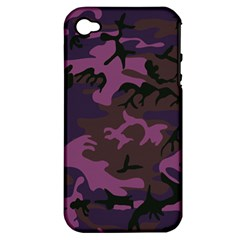 Camouflage Violet Apple Iphone 4/4s Hardshell Case (pc+silicone) by snowwhitegirl