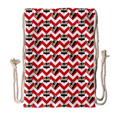 Camera Chevron Drawstring Bag (large)