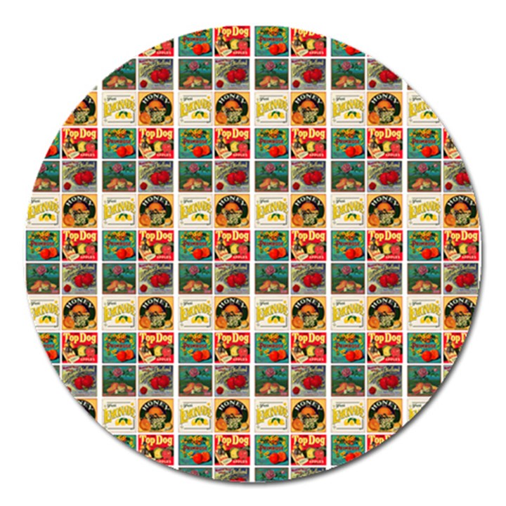 Victorian Fruit Labels Magnet 5  (Round)