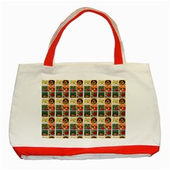 Victorian Fruit Labels Classic Tote Bag (red)