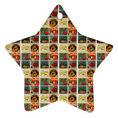 Victorian Fruit Labels Star Ornament (two Sides)