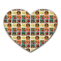 Victorian Fruit Labels Heart Mousepads by snowwhitegirl