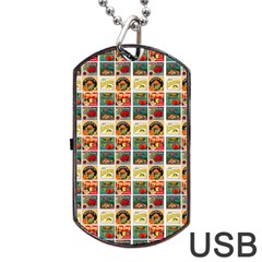 Victorian Fruit Labels Dog Tag Usb Flash (one Side)