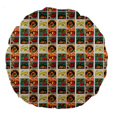 Victorian Fruit Labels Large 18  Premium Round Cushions