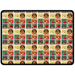 Victorian Fruit Labels Double Sided Fleece Blanket (large)
