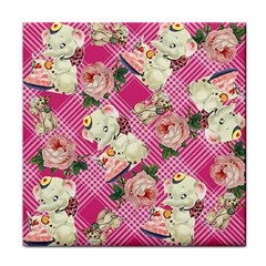 Retro Pets Plaid Pink Tile Coasters