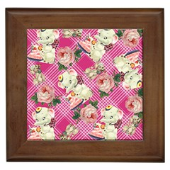 Retro Pets Plaid Pink Framed Tiles