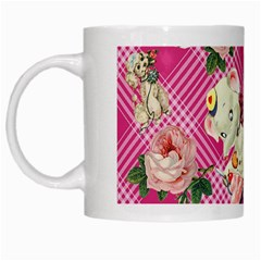 Retro Pets Plaid Pink White Mugs