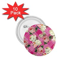 Retro Pets Plaid Pink 1 75  Buttons (10 Pack)