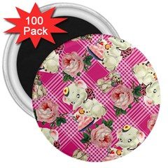 Retro Pets Plaid Pink 3  Magnets (100 Pack)