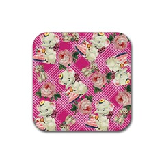 Retro Pets Plaid Pink Rubber Square Coaster (4 Pack)