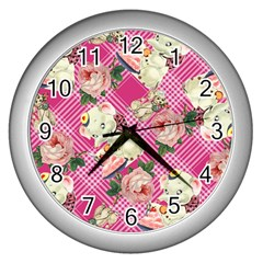 Retro Pets Plaid Pink Wall Clock (silver)