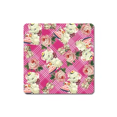 Retro Pets Plaid Pink Square Magnet