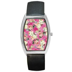 Retro Pets Plaid Pink Barrel Style Metal Watch