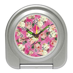 Retro Pets Plaid Pink Travel Alarm Clock
