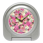 Retro Pets Plaid Pink Travel Alarm Clock Front
