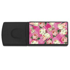 Retro Pets Plaid Pink Rectangular Usb Flash Drive