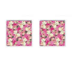 Retro Pets Plaid Pink Cufflinks (square)