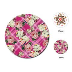 Retro Pets Plaid Pink Playing Cards (round)