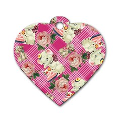 Retro Pets Plaid Pink Dog Tag Heart (two Sides)
