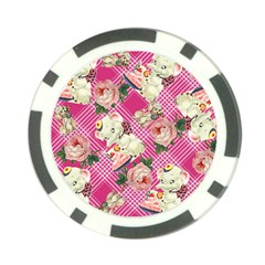 Retro Pets Plaid Pink Poker Chip Card Guard