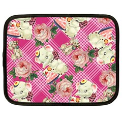 Retro Pets Plaid Pink Netbook Case (large)