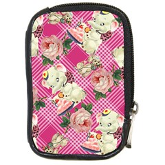 Retro Pets Plaid Pink Compact Camera Leather Case