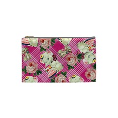 Retro Pets Plaid Pink Cosmetic Bag (small)