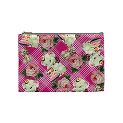 Retro Pets Plaid Pink Cosmetic Bag (medium)