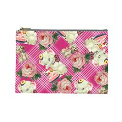 Retro Pets Plaid Pink Cosmetic Bag (large)