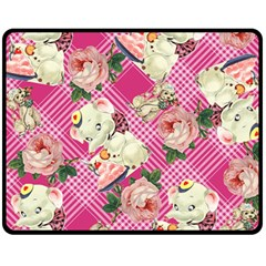 Retro Pets Plaid Pink Fleece Blanket (medium)