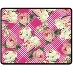 Retro Pets Plaid Pink Fleece Blanket (Medium)  60 x50 Blanket Front